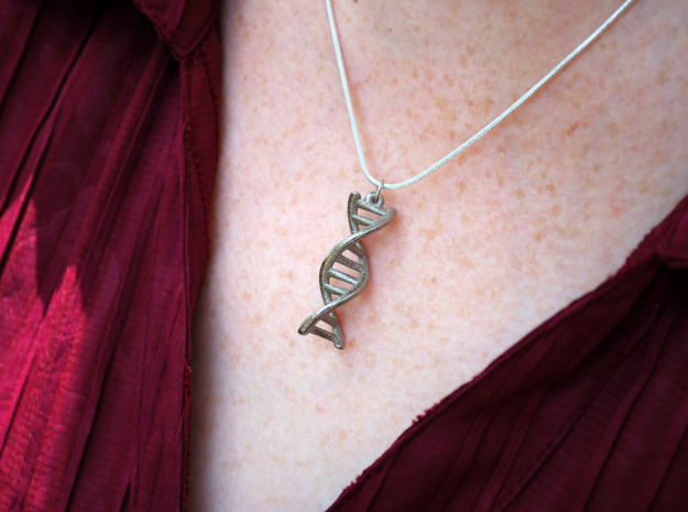 DNA Double Helix Pendant 3d printed Polished nickel steel.