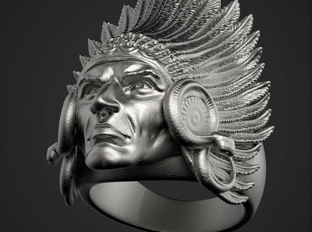 Indian_Face_Ring in Polished Nickel Steel