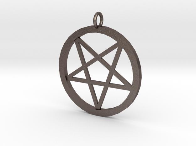 pentagram pendant in Polished Bronzed-Silver Steel