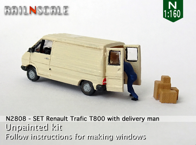 SET Renault Trafic T800 with delivery man (N) in Smooth Fine Detail Plastic