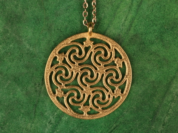 Celtic Seven Spiral Pendant in Matte Gold Steel
