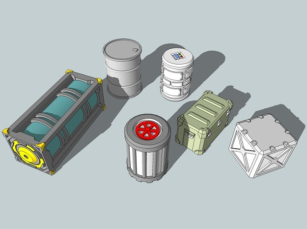 15mm Sci-Fi Cargo Crates and Barrels in Smooth Fine Detail Plastic