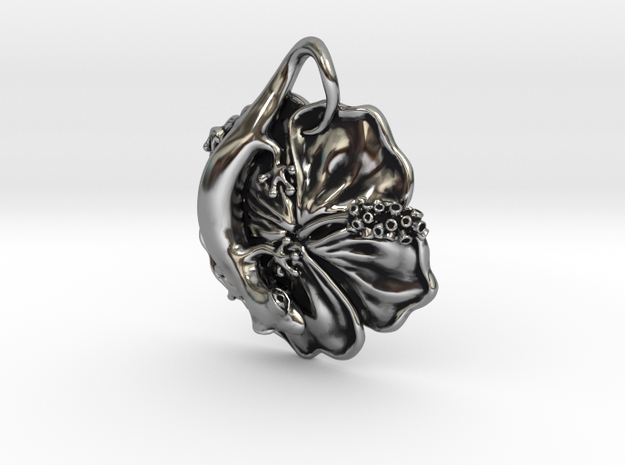 Gecko on Hibiscus in Antique Silver