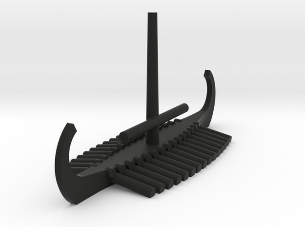 1/1200 Viking Longship (Stowed Sail) Game Pieces in Black Natural Versatile Plastic: Extra Small