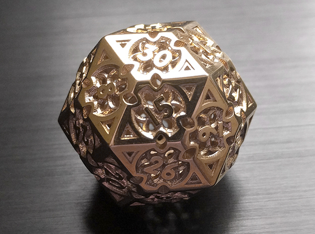 Gothic Rosette d30 in Polished Brass