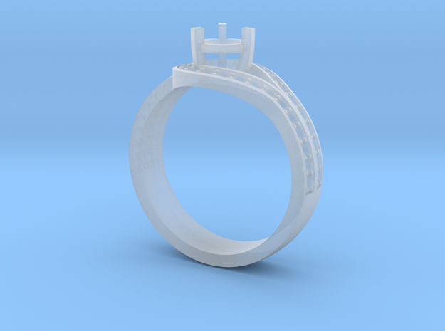 Elegant ring with curved halo in Smooth Fine Detail Plastic