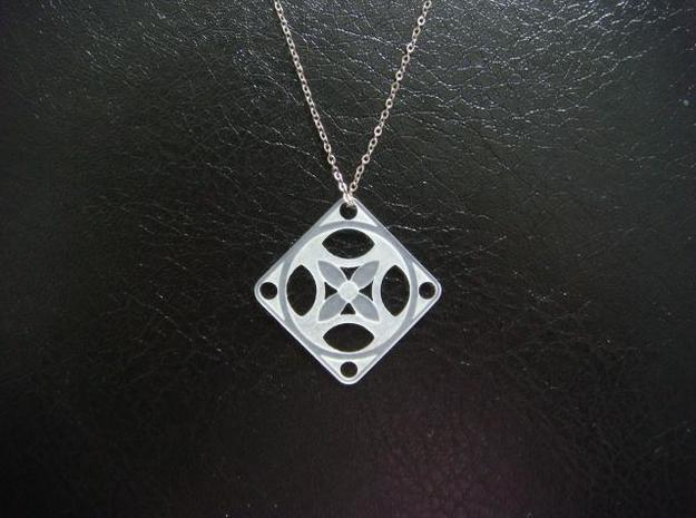 Square Pendant or Charm - Four Petal Flow 3d printed FUD - Chain not included