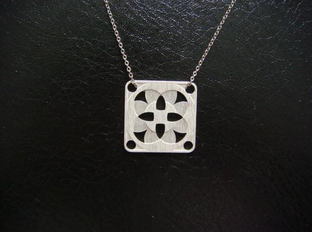 Square Pendant or Charm - Four Fountains in Raw Silver