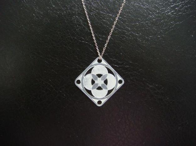 Square Pendant or Charm - Four Petals Bound in Raw Silver