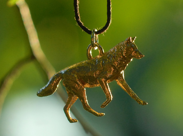 Running Wolf Pendant in Natural Bronze