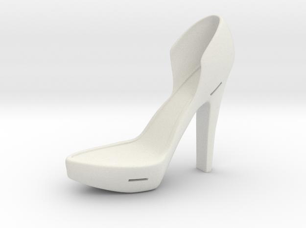 Left Leather-Strap High Heel in White Natural Versatile Plastic