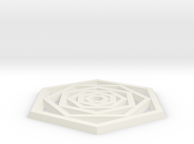 Hexa Coaster in White Natural Versatile Plastic: Small