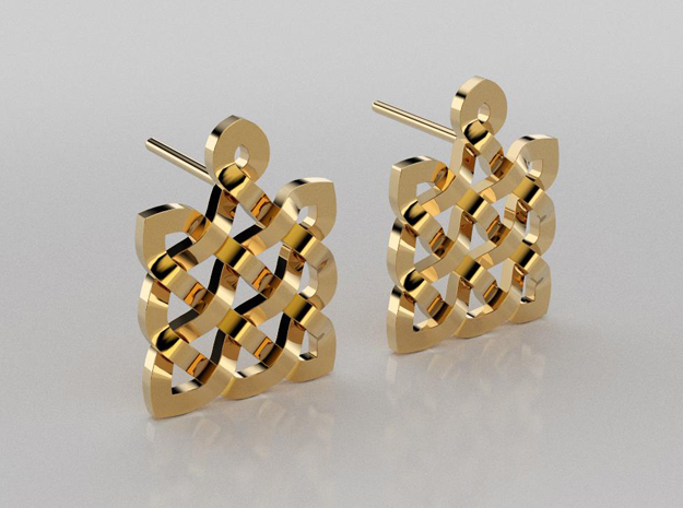 05 - May2518 - Celtic knots square earrings in 14K Yellow Gold