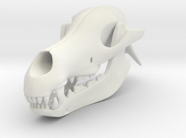 3D Printed Dog Skull in White Natural Versatile Plastic