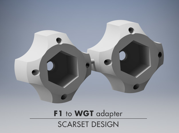 F1 to PANCAR wheel  ADAPTER 14mm to WGT in Black Natural Versatile Plastic
