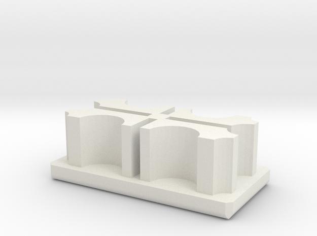 Metal Desk End Cap (rectangular) in White Natural Versatile Plastic
