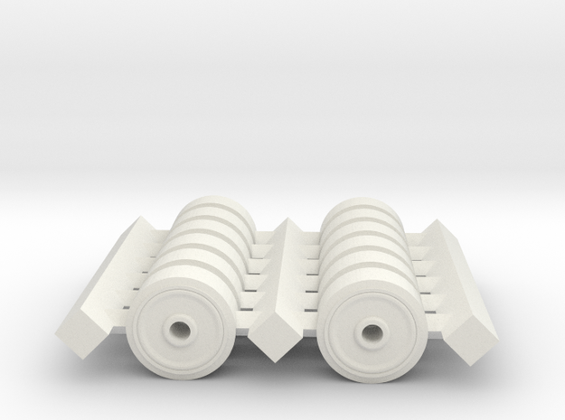 H0 1/87 M4 Sherman Spare Wheels (pressed). in White Natural Versatile Plastic