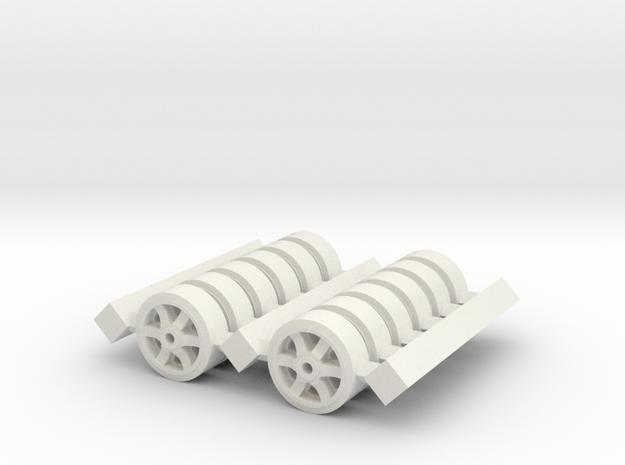 H0 1/87 M4 Sherman Spare Wheels (6 spoke). in White Natural Versatile Plastic