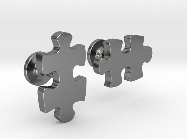 puzzle piece cufflinks in Polished Silver