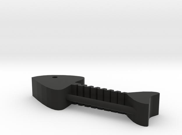 Fish Bones Headphone Reel in Black Natural Versatile Plastic