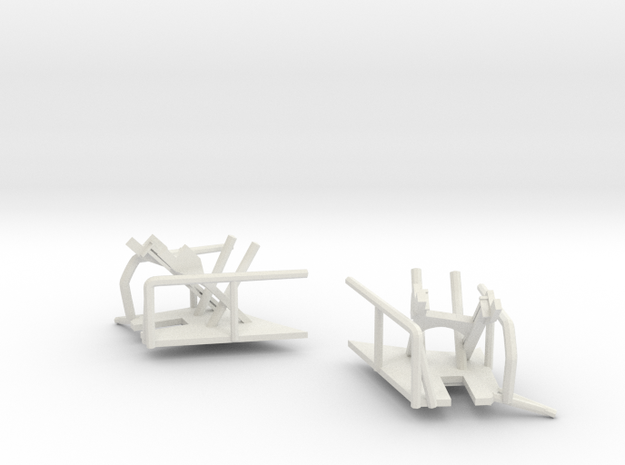 1/144 Bismarck Crane Storage Brackets in White Natural Versatile Plastic