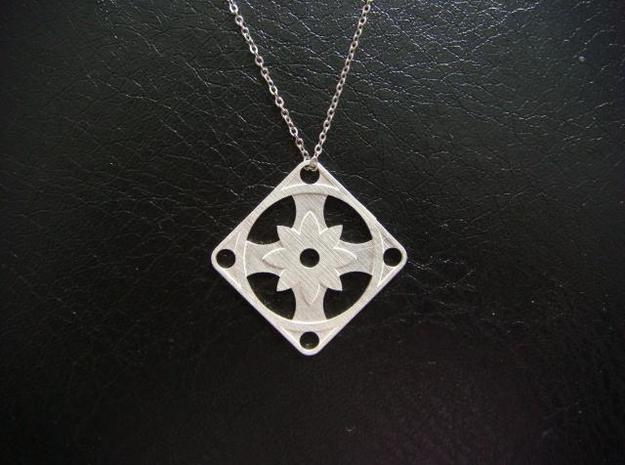 Square Pendant or Charm - Eight Petal Supported 3d printed Silver - Chain not included