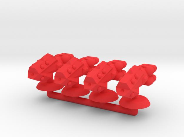 Zeta Generic Medium Warship Squadron in Red Processed Versatile Plastic