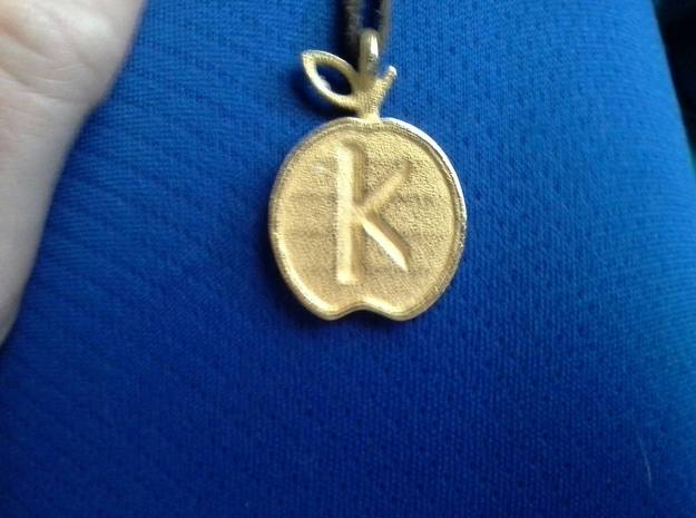 Pendant of the Golden Apple - Kappa in Polished Gold Steel