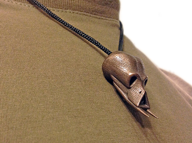 Alien Skull Pendant (40 mm H) 3d printed Polished Bronze Steel