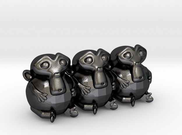 Triple Monkey  in Polished and Bronzed Black Steel