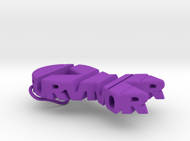 Cancer Ribbon Keychain in Purple Processed Versatile Plastic
