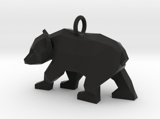 Grizzly Bear Pendant in Black Natural Versatile Plastic