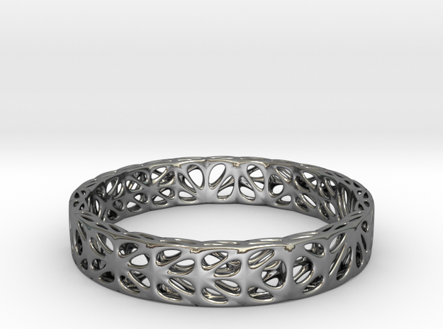 Voronoi Bi-Dodecagonal Bracelet (001b) in Fine Detail Polished Silver