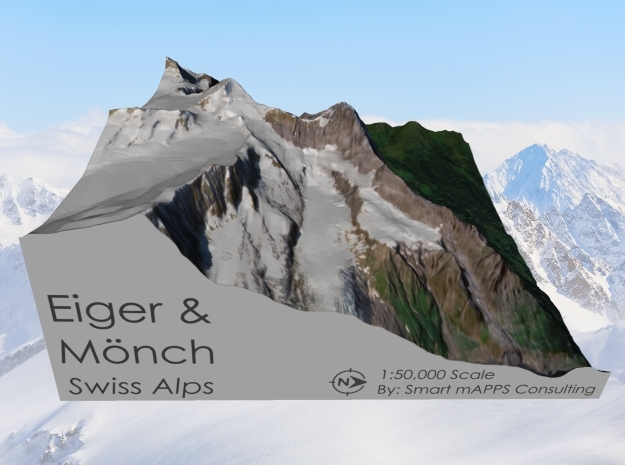 Eiger & Mönch Map, Swiss Alps