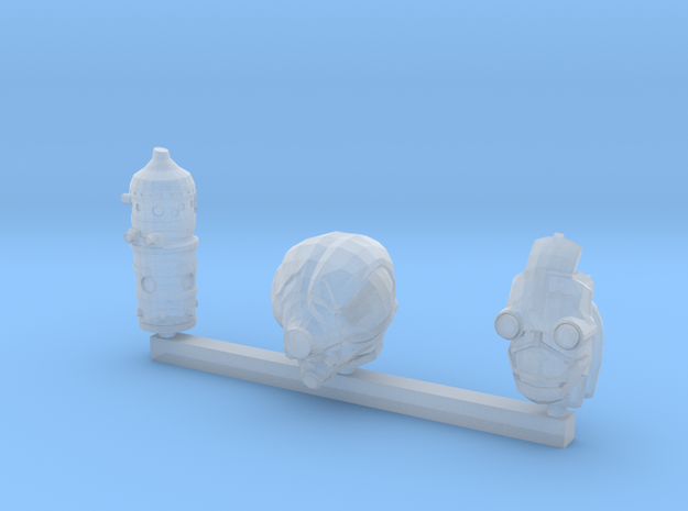 3 Assorted Robot Heads in Smooth Fine Detail Plastic