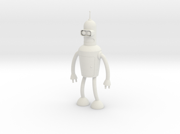 Futurama Bender Figure in White Natural Versatile Plastic: Small