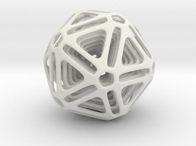 Nested Icosahedron in White Natural Versatile Plastic