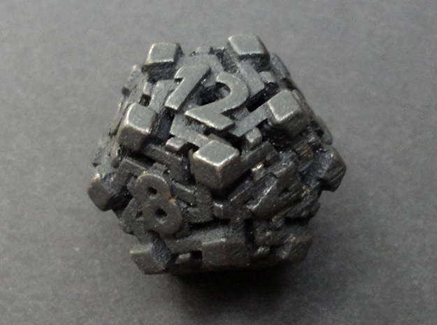 Intangle Die12 in Polished and Bronzed Black Steel