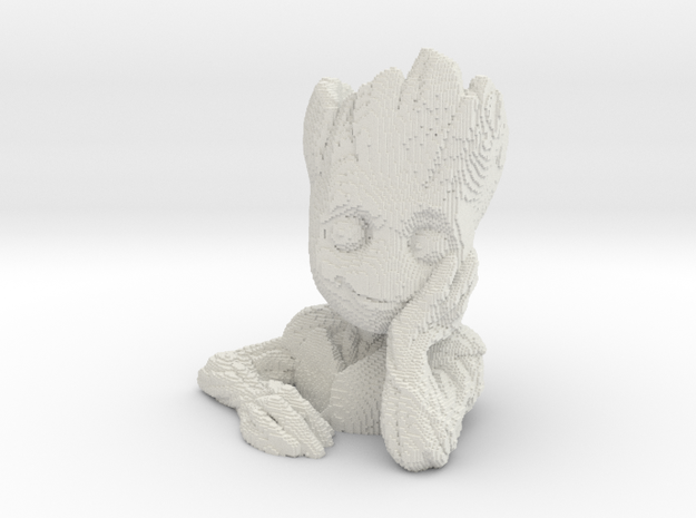 Baby Groot voxelized in White Natural Versatile Plastic