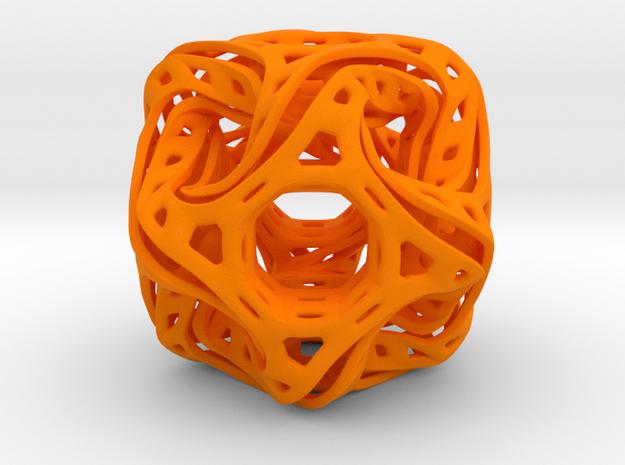 Ported looped drilled  cube pendant in Orange Processed Versatile Plastic