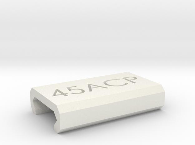 Caliber Marker - Picatinny - 45ACP in White Natural Versatile Plastic