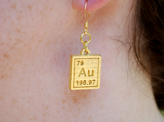 Gold Periodic Table Earrings in Polished Gold Steel