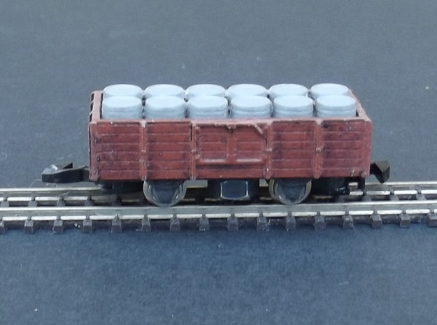 Wagon Tombereau Body - Nm - 1:160 3d printed completed model + chassis + wheels + coupler + barrels