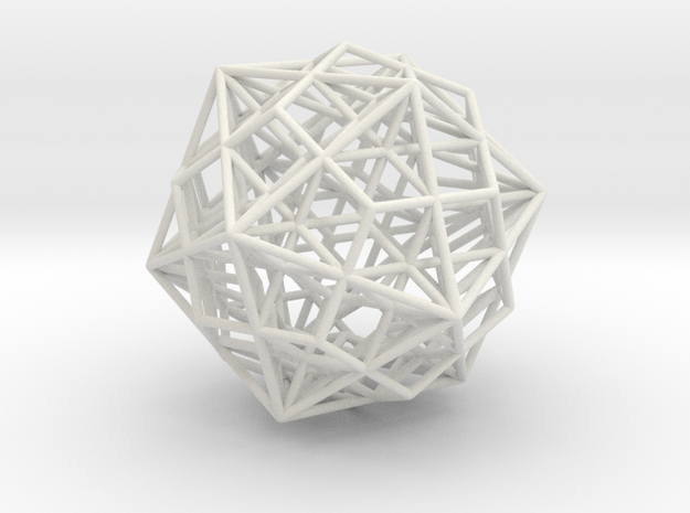 """Great Dodecahedron / Dodecahedron Compound 1.6"""" in White Natural Versatile Plastic"""