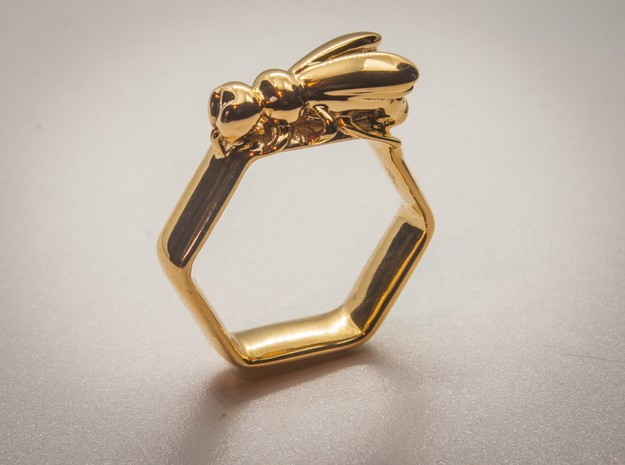 Bee Ring Hex US Size 8 (Uk Size Q) in 14K Yellow Gold