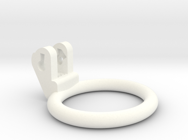 New Fun Cage - Ring - 51x46mm - Wide Oval in White Processed Versatile Plastic