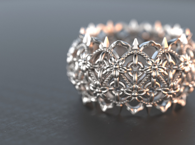 Thorns and  Flowers Silver Ring  in Natural Silver