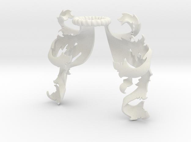Boscage Mantling (Symmetrical) in White Natural Versatile Plastic: Small