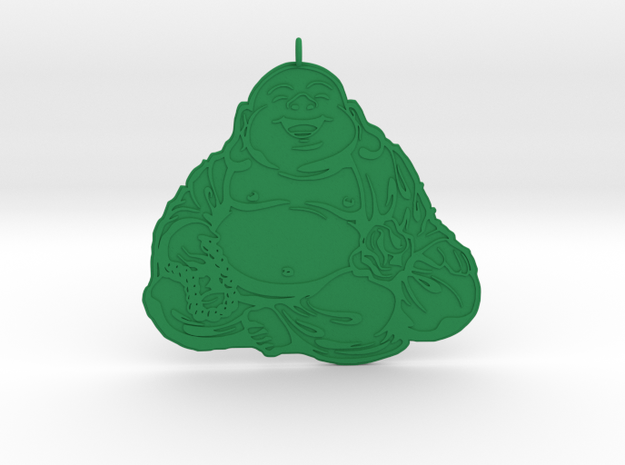 Laughing Buddha pendant in Green Processed Versatile Plastic