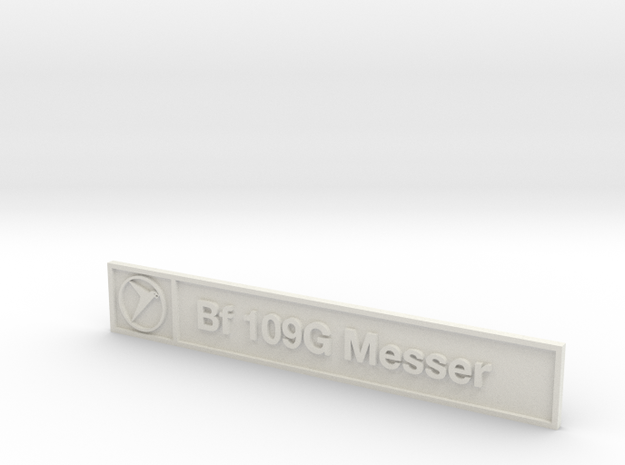 Bf 109G Plaque in White Natural Versatile Plastic